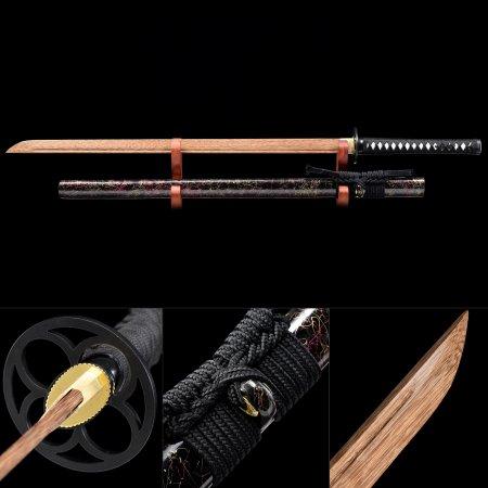 Handmade Wooden Blade Unsharpened Ninjato Ninja Sword With Multi-colored Scabbard