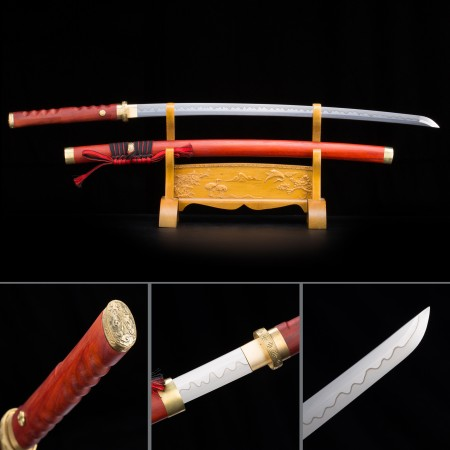 Handmade High Manganese Steel Redwood Saya Sharpened Real Japanese Katana Samurai Swords
