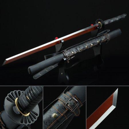 Handmade Spring Steel Red Blade Real Japanese Ninjato Ninja Sword With Black Scabbard