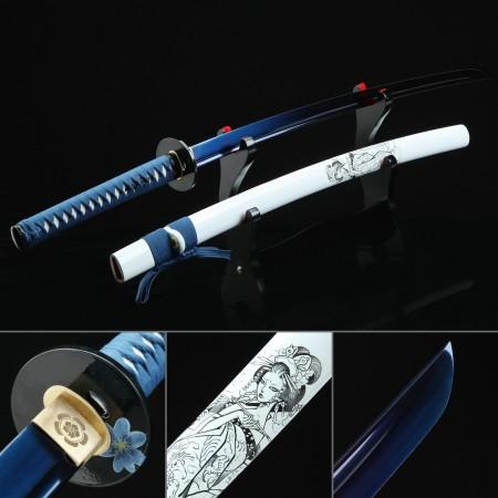 Handmade Japanese Katana High Manganese Steel With Blue Blade And White Scabbard