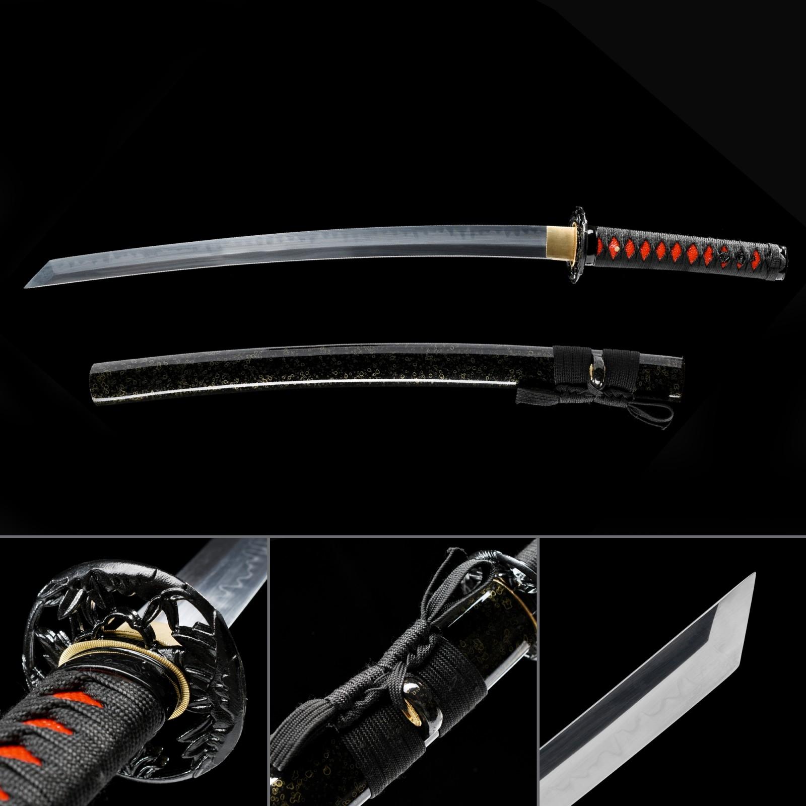 Short Katana, Handmade Japanese Wakizashi Sword T10 Folded Clay Tempered Steel With Black Scabbard