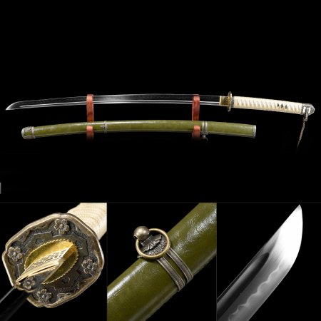 Wwii Japanese Type 98 Army Shin Gunto Officer's Saber Sword With Green Scabbard