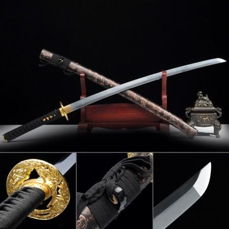 Handmade Carbon Steel Katana Japanese Samurai Sword Witb Skull Leather Scabbard