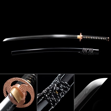 High-performance T10 Carbon Steel Real Japanese Katana Sword With Black Scabbard