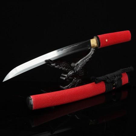 Handmade Red Short Shirasaya Katana Japanese Aikuchi Pocket Tanto Knife