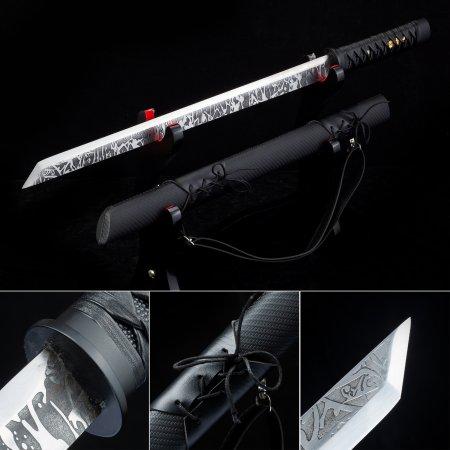 Handmade High Manganese Steel Sharpening Japanese Ninjato Ninja Swords With Black Leather Scabbard