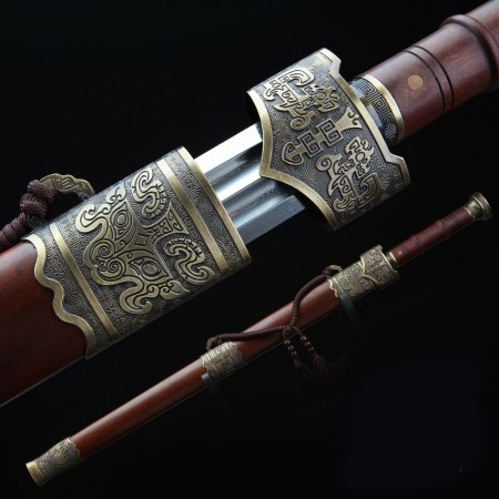 Handmade Bronze Brown Wood Real Long Chinese Han Sword