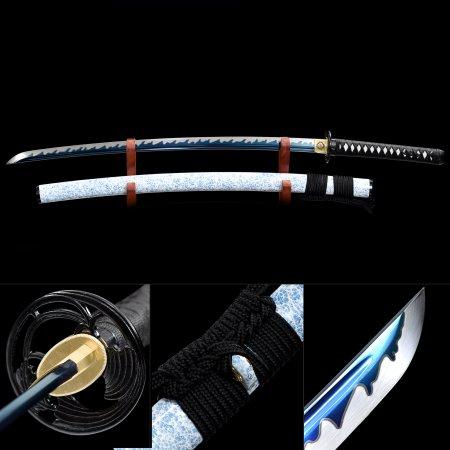Handmade Japanese Samurai Sword High Manganese Steel With Blue Blade And White Scabbard