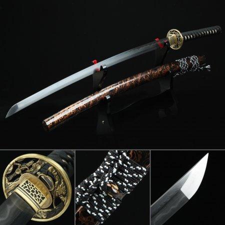 Battle Ready Sword, Real Hamon Japanese Katana Sword Damascus Steel With Brown Scabbard