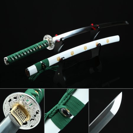Green And White Katana, Handmade Japanese Samurai Sword Spring Steel With White Scabbard