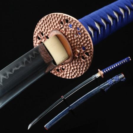 Handmade Clay Tempered 1060 Carbon Steel Real Horn Blue Katana Samurai Swords