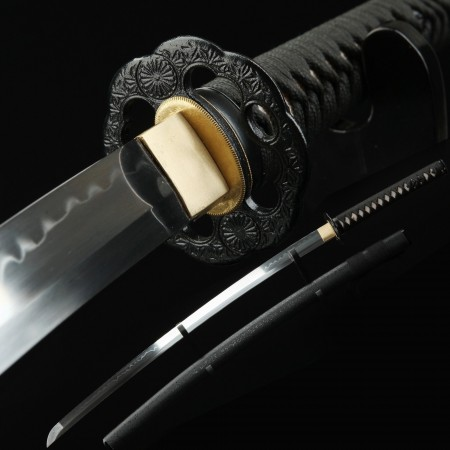 Hamon Katana, Handmade Japanese Katana Sword T10 Folded Clay Tempered Steel With Black Scabbard