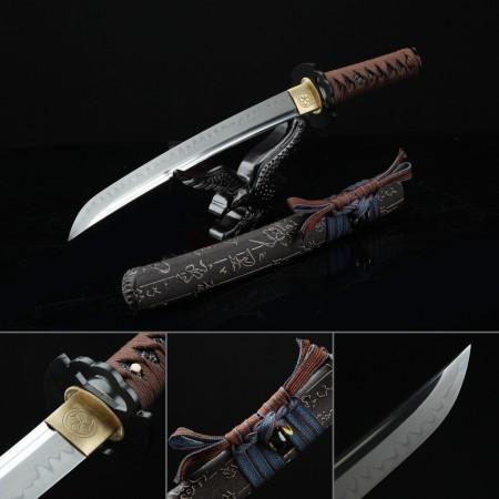 Handmade Chinese Character Theme Real Hamon Full Tang Short Katana Tanto Swords