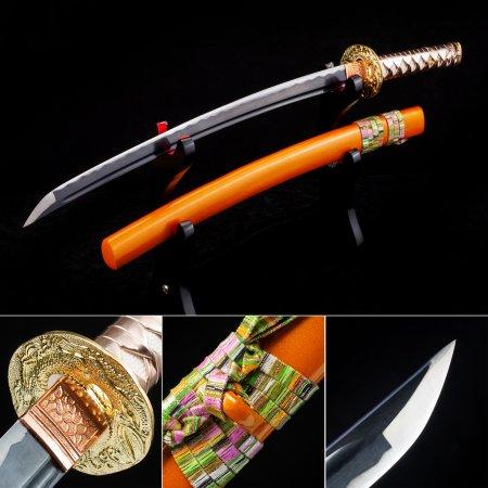 Handmade High Manganese Steel Sharpening Real Japanese Wakizashi Swords With Orange Scabbard