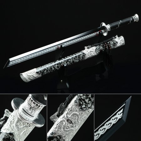 Handmade High Manganese Steel Black Straight Blade Chokuto Japanese Ninjato Sword With Alloy Tsuba