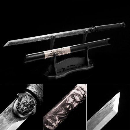 High Manganese Steel Straight Blade Handforged Chokuto Japanese No Guard Ninjato Ninja Swords