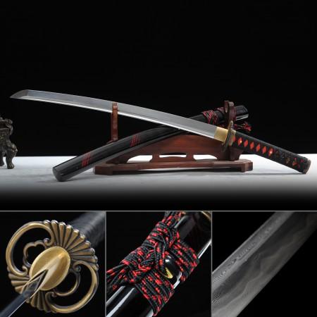 Battle Ready Wakizashi, Handmade Wakizashi Sword Damascus Steel  With Black Scabbard
