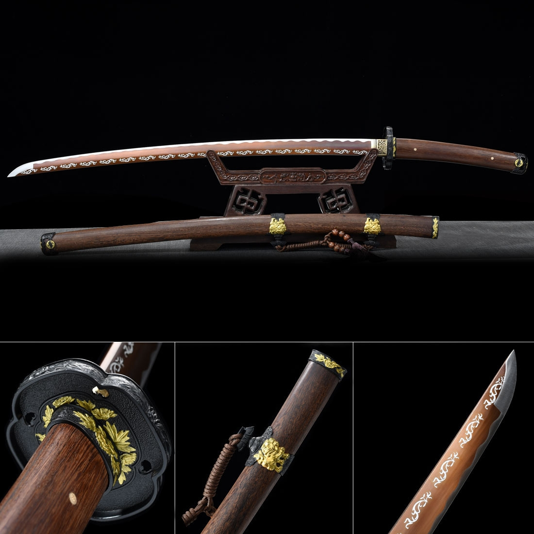 Handmade Japanese Katana Sword Spring Steel Full Tang With Brown Blade And Scabbard