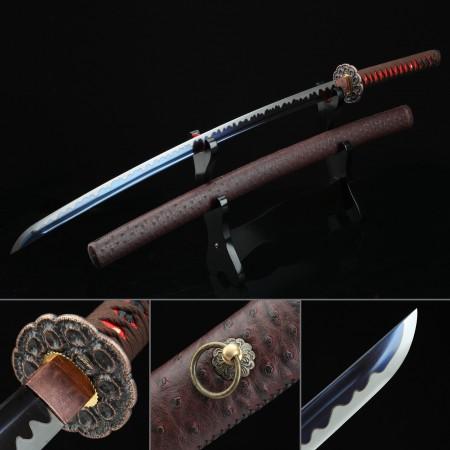 Handmade 1045 Carbon Steel Blue Blade Japanese Katana Samurai Sword With Brown Scabbard