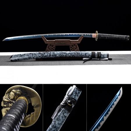Handmade Real Katana Samurai Swords With Granite Style Saya And Blue Blade