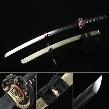 High-performance Pattern Steel Snake Tsuba Real Hamon Japanese Katana Swords With Olive Scabbard
