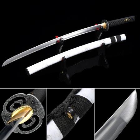 Handmade 1060 Carbon Steel Real Japanese Katana Samurai Sword With White Scabbard And Alloy Tsuba