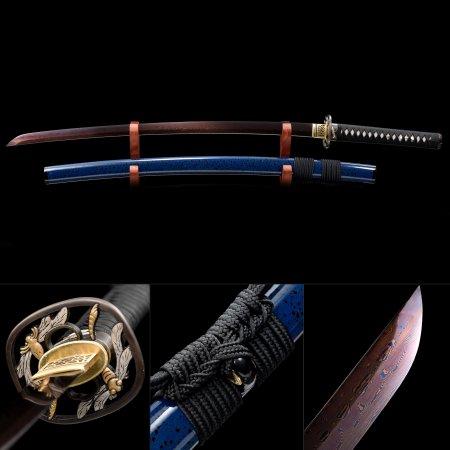 Handmade Pattern Steel Red Blade And Dragonfly Tsuba Japanese Samurai Katana Swords