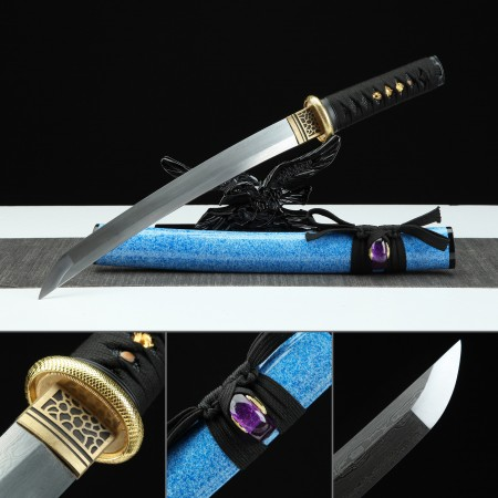 Handmade Damascus Steel Blue Gem Theme Real Japanese Tanto Samurai Swords