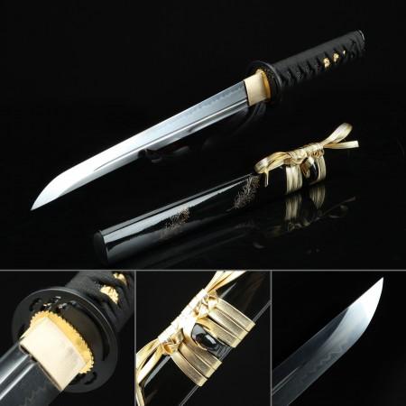 Handmande T10 Carbon Steel Real Hamon Japanese Hamidashi Tanto Sword With Black Scabbard