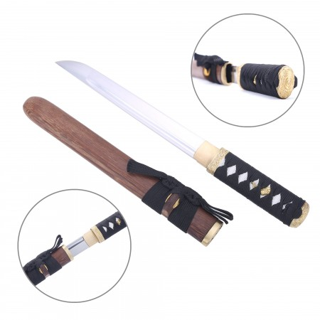 Handmade T10 Carbon Steel Real Japanese Tanto Hamidashi Sword With Wood Scabbard