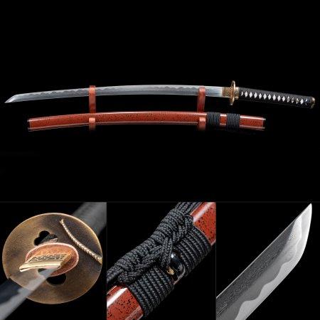 Handmade 1000 Layer Folded Steel Sharpening Real Japanese Samurai Katana Sword With Red Scabbard