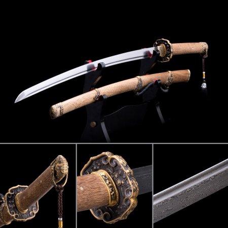 Full Tang Sword, Handmade Japanese Samurai Sword Pattern Steel With Natural Scabbard