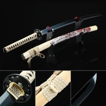 Handmade Spring Steel Gray Blade Real Japanese Katana Samurai Swords With Natural Scabbard