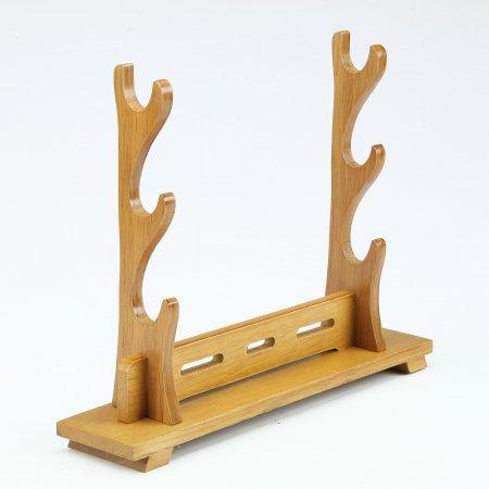 Handmade Natural Bamboo Wooden 3 Tier Katana Samurai Sword Bracket Stand Holder Display Rack Stand