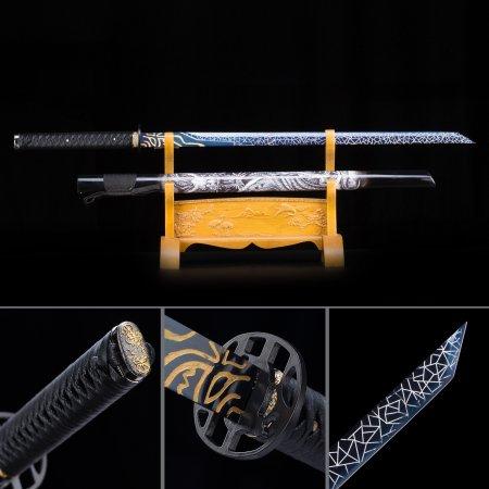 High Manganese Steel Blue Straight Blade Chokuto Japanese Ninjato Ninja Sword With Dragon Scabbard