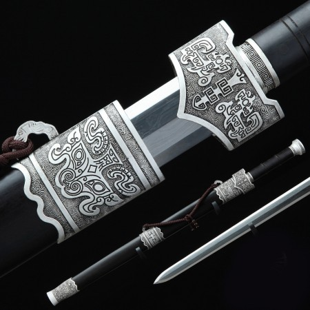 Handmade Real Long Chinese Han Sword - Silver Black