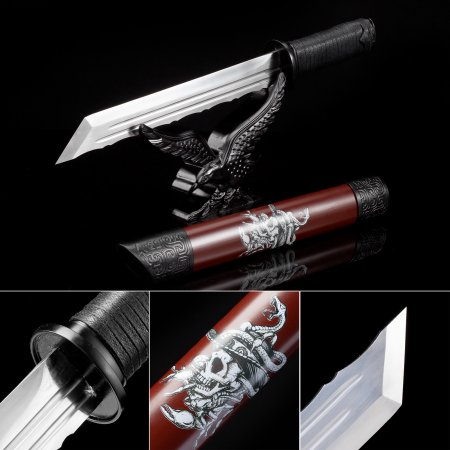 Handmade High Manganese Steel Real Japanese Hamidashi Tanto Sword With Red Scabbard