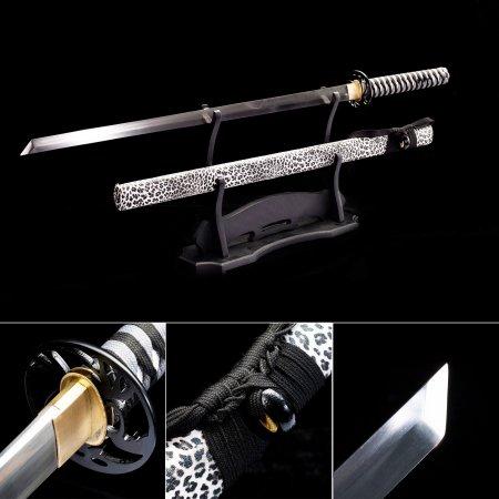High Manganese Steel Straight Blade Chokuto Japanese Ninjato Ninja Sword With Leopard Print Scabbard