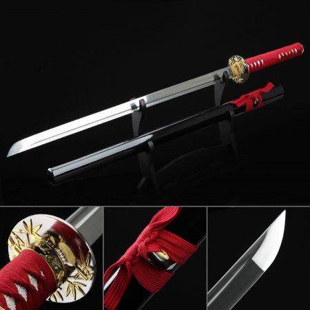 Handmade Bamboo Tsuba Japanese Ninjato Ninja Swords Samurai Swords With Black Scabbard