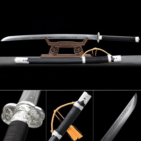 Handmade Spring Steel Silver Flower Tsuba Real Japanese Katana Samurai Swords