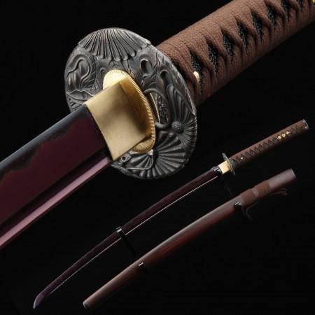 Purple Katana, Handmade Japanese Katana Sword 1045 Carbon Steel With Black Lotus Leaves Tsuba