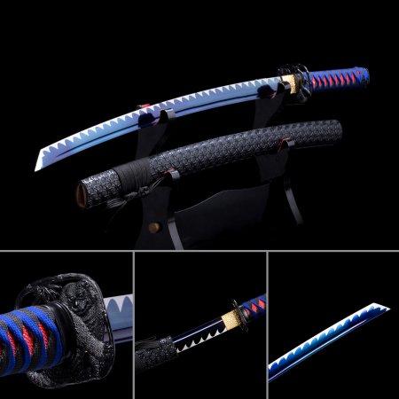 Handmade High Manganese Steel Blue Blade Japanese Wakizashi Swords With Black Leather Scabbard
