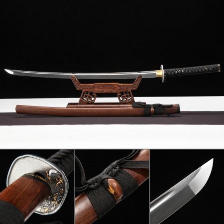 Handmade High Manganese Steel Flower Tsuba Real Japanese Katana Samurai Sword With Brown Scabbard