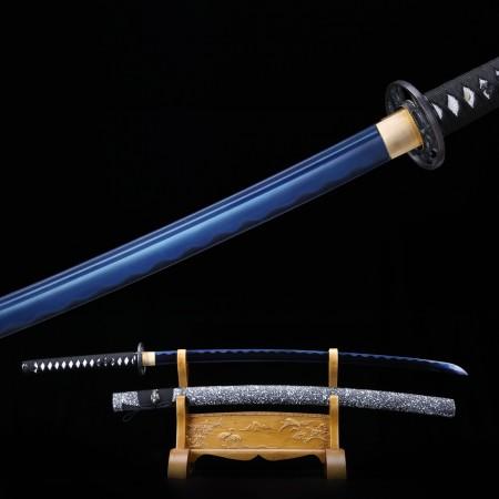 Full Tang Swords, Handmade Japanese Samurai Sword 1060 Carbon Steel With Blue Blade
