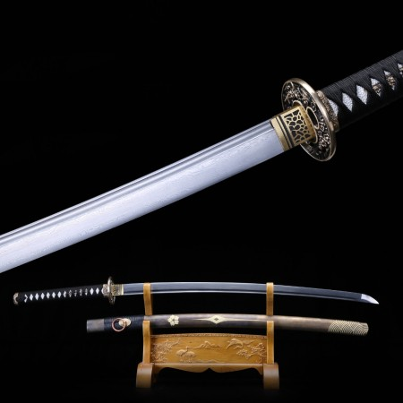 Handmade Damascus Steel Japanese Samurai Katata Sword With Real Copper Fitting