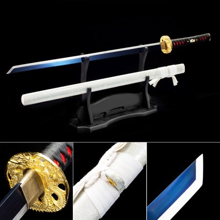 Handmade High Manganese Steel Blue Blade Chokuto Japanese Ninjato Ninja Swords With Gray Scabbard
