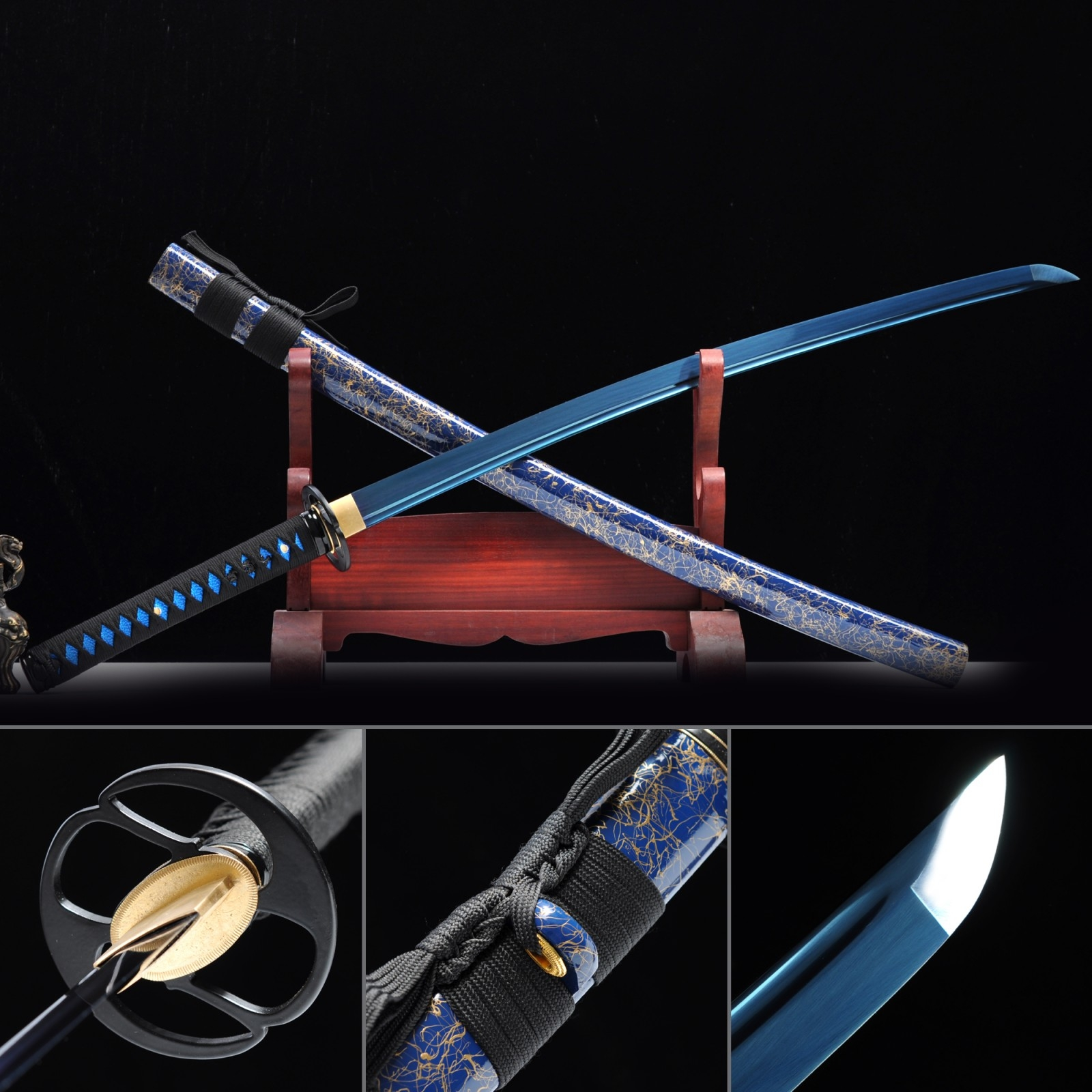 Hand Forged Blue Blade Real Japanese Katana Samurai Swords With Blue Scabbard
