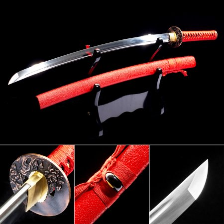 High Manganese Steel Japanese Katana Samurai Swords With Red Leather Scabbard And Copper Tsuba