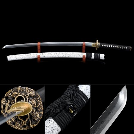 Authentic Japanese Katana Sword 1000 Layer Folded Steel With White Scabbard
