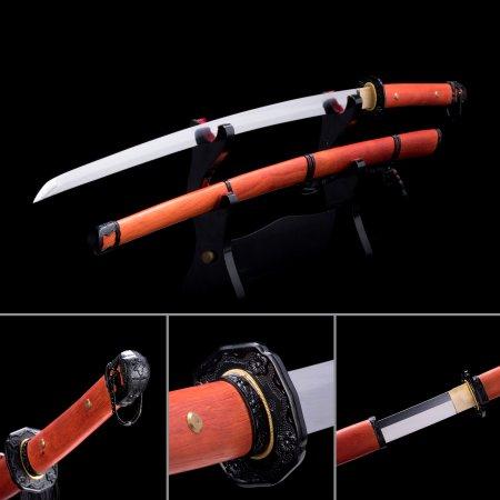 Handmade High Manganese Steel Real Japanese Samurai Katana Swords With Rosewood Scabbard